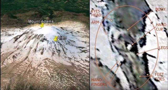 Виртуальный исследователь обнаружил на вершине горы Адамс замороженного пришельца