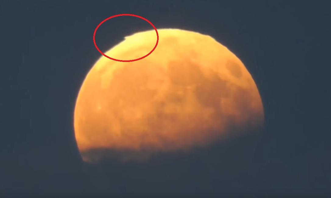 Во время затмения на кромке Луны показались острые пирамиды