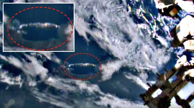 Mile long Cigar Shaped UFO Hiding In Clouds Below Space Station