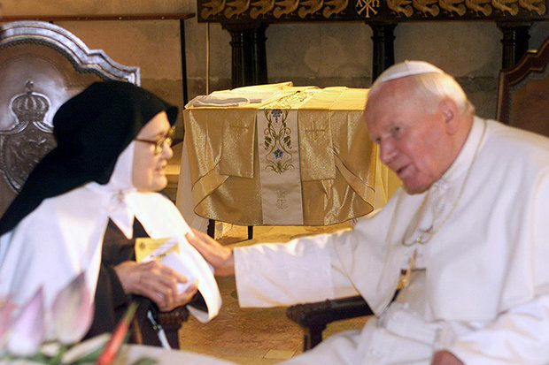 PALS: Sister Lucia with Pope John Paul II