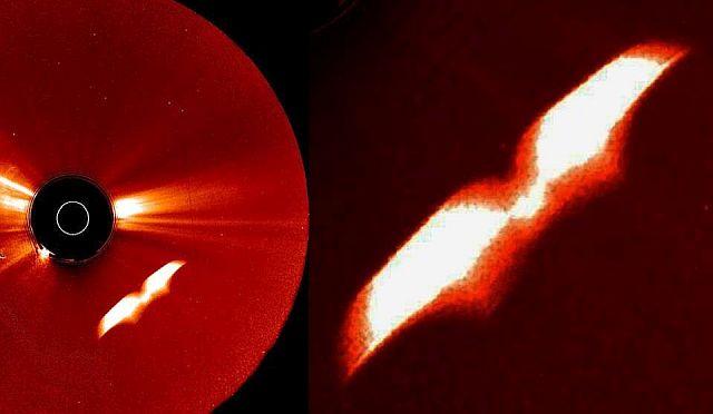 Загадочный крылатый объект около Солнца