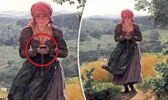Мистическая картина «Долгожданная» с девочкой, которая играет смартфон