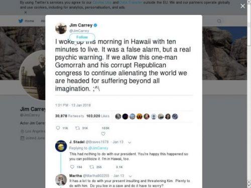 Очередной словесный накат Джима Керри на рептилоида Трампа