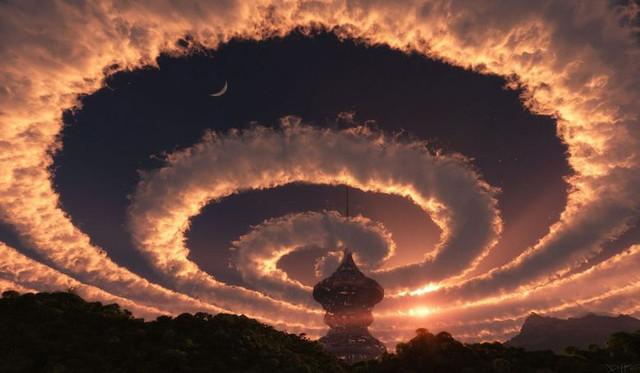Светящаяся спираль в небе над Австрией
