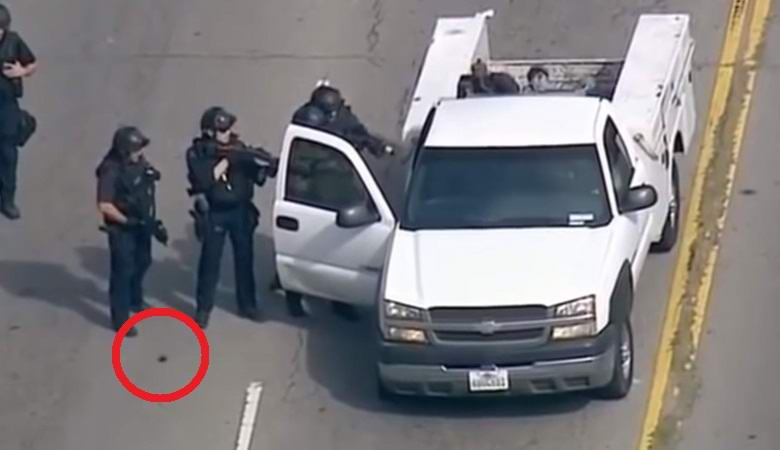 Странный объект отделился от ноги полицейского после погони за преступником