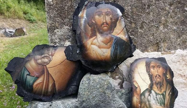 Пожар в сербском монастыре оставил нетронутыми лики святых