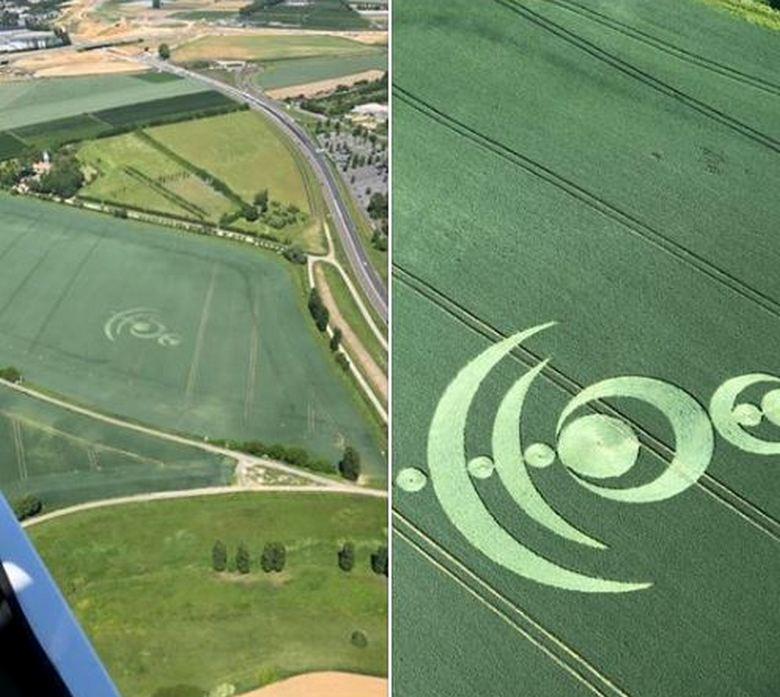 Пилот сфотографировал сложный рисунок на поле Франции