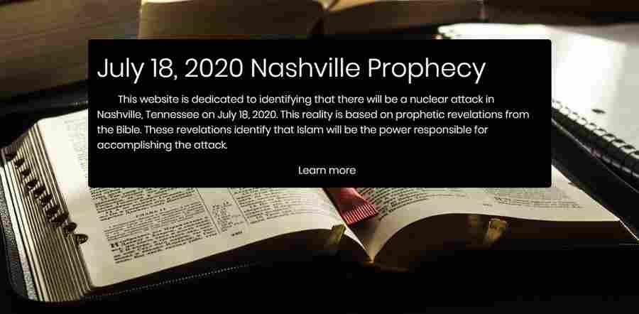 На 18 июля 2020 года главная газета штата Теннесси обещает ядерный теракт