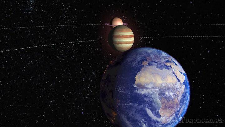 Уникальная оптическая иллюзия: Сатурн и Юпитер слились в единое целое