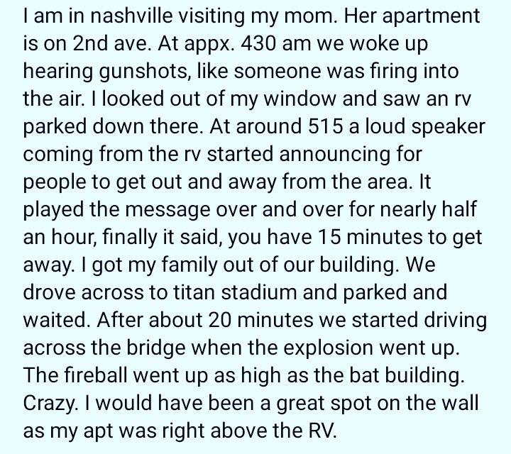 О теракте в Нешвилле люди были предупреждены за час до взрыва.