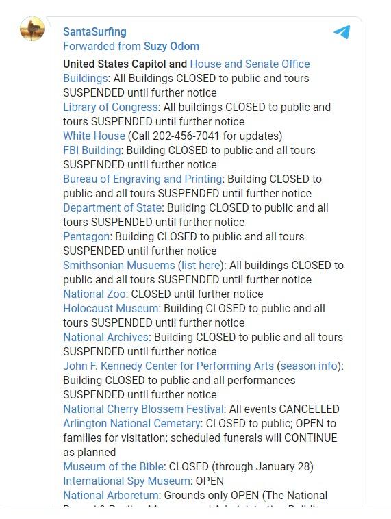 В Вашингтоне какая-то невероятная пандемия закрытий зданий и офисов