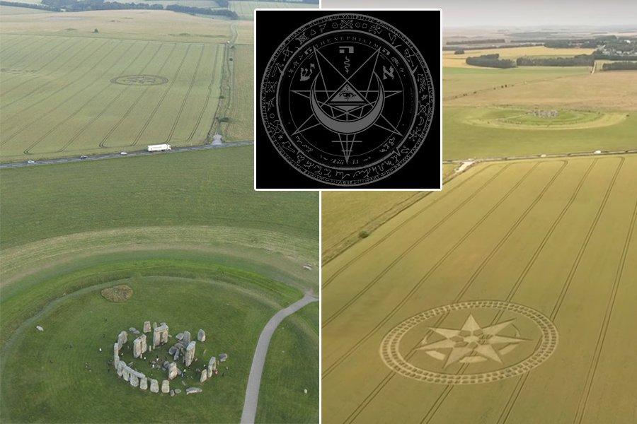 На поле рядом со Стоунхенджем появился круг со звездой и полумесяцем