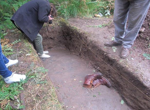 Археологи вскрыли небольшой участок плиты.