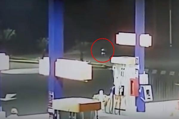 В Перу за работниками автозаправки наблюдало странное существо
