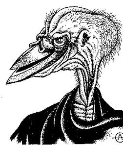 Рисунок птицеподобного инопланетянина из книги Ю. Петухова